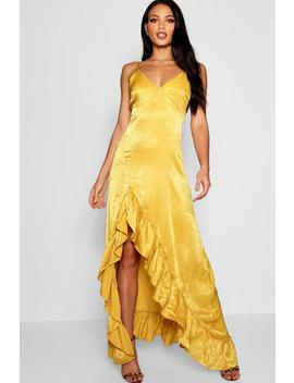 Hammered Satin Ruffle Maxi Dress by Boohoo
