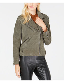 Asymmetric Suede Moto Jacket by Lucky Brand