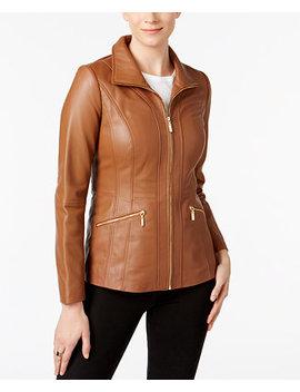 Scuba Leather Jacket by Anne Klein