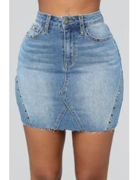 Girl's Best Friend High Rise Studded Skirt   Medium by Fashion Nova