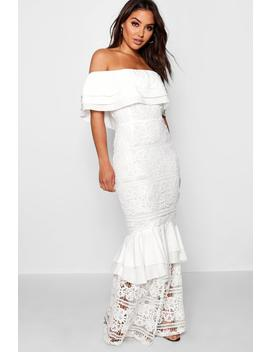 Lace Off The Shoulder Maxi Dress by Boohoo