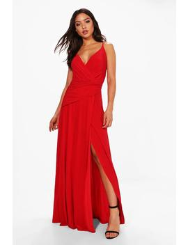 Wrap Ruched Strappy Maxi Dress by Boohoo