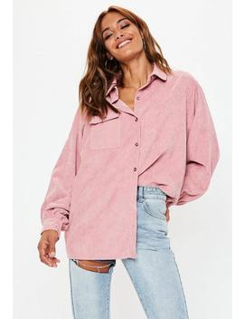 Pink Oversized Corduroy Shirt by Missguided