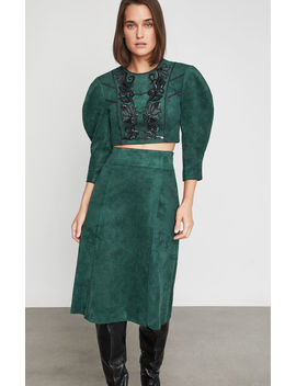 Embroidered Faux Suede Crop Top by Bcbgmaxazria
