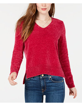 V Neck Chenille Sweater, Created For Macy's by Maison Jules
