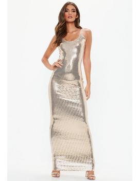 Gold Strappy Sequin Maxi Dress by Missguided
