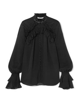 Satin Trimmed Ruffled Silk Georgette Blouse by Jonathan Simkhai