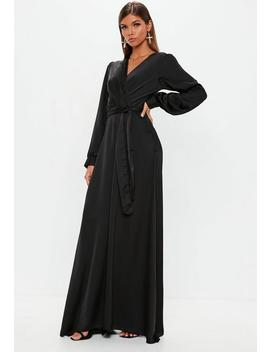 Black Satin Wrap Over Maxi Dress by Missguided