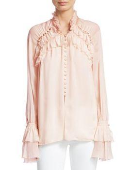Chiffon Lace Button Blouse by Jonathan Simkhai