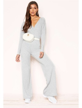 Melony Grey Wrap Wide Leg Jumpsuit by Missy Empire