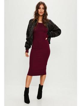 Burgundy Long Sleeve Bodycon Midi Dress by Missguided