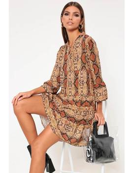 Orange Snake Print Flared Sleeve Smock Dress by I Saw It First