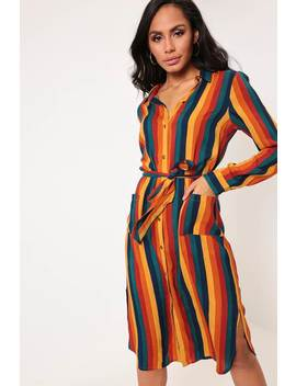 Multi Striped Belted Shirt Dress by I Saw It First