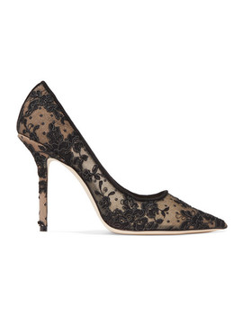 Love 100 Swiss Dot Tulle And Corded Lace Pumps by Jimmy Choo