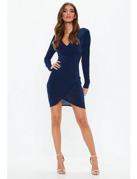 Navy Long Sleeve Wrap M Ini Dress by Missguided