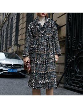 Annz   Plaid Tweed Long Coat by Annz