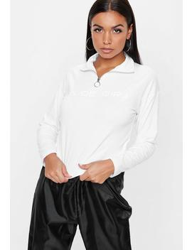 White Nude Girl Cropped Sweatshirt by Missguided