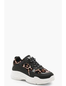 Leopard Chunky Sole Trainers by Boohoo
