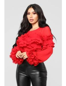 Te Adora Ruffle Top   Red by Fashion Nova