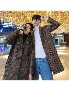 Bienvenu   Couple Matching Plaid Buttoned Coat by Bienvenu