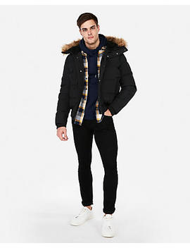 Black Faux Fur Lined Hooded Bomber Jacket by Express