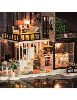 Doll House Wooden Miniatura Doll House With Furniture Kit Villa Led Lights 2018 by Ebay Seller
