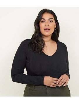 Curves Black Ribbed V Neck Bodysuit by New Look