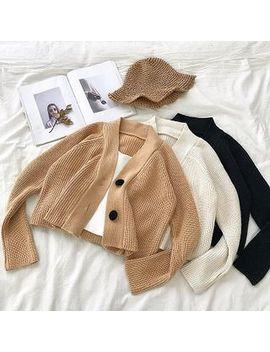 Diyi   Plain V Neck Long Sleeve Cardigan by Diyi