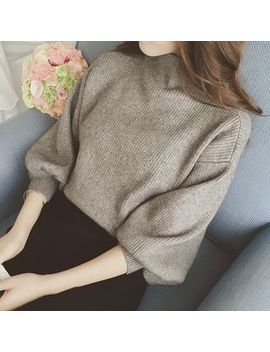 Octogirl   Elbow Sleeve Mock Neck Sweater by Octogirl