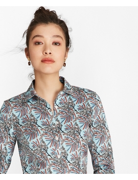 Petite Tailored Fit Mimosa Floral Print Cotton Sateen Shirt by Brooks Brothers