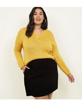 Curves Black Corduroy Mini Skirt by New Look