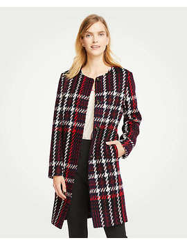 Plaid Jewel Neck Coat by Ann Taylor