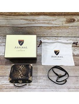 New Aspinal Of London Brown Snakeskin Print Mini Trunk Clutch Bag Small 21306 by Aspinal