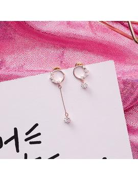 Simple Korean Style Asymmetrical Rhinestone Zircon Earrings For Women Geometric Round Dangle Earrings Fashion Jewelry Mj1619 by Ywuuli