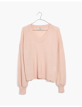 Cashmere V Neck Bubble Sleeve Sweater by Madewell
