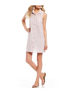 Striped Button Front Shirt Dress by Gb