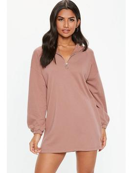 Petite Pink Oversized Zip Front Sweater Dress by Missguided