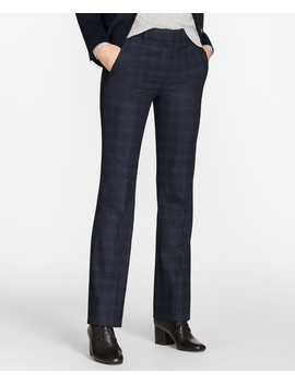Petite Plaid Stretch Wool Pants by Brooks Brothers