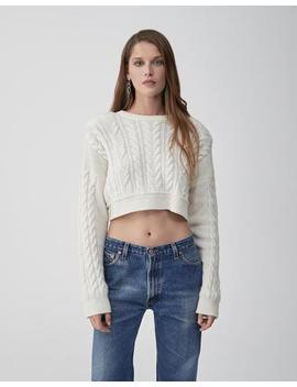 Cableknit Crop Sweater by Re/Done