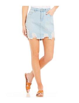 Love Shredded Mid Rise Destructed Denim Skirt by Ymi Jeanswear