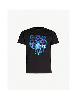 Metallic Tiger Embroidered Cotton Jersey T Shirt by Kenzo