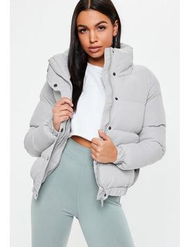 Gray Zip Through Puffer Jacket by Missguided