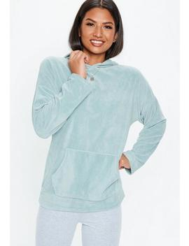 Teal Velour Oversized Hoodie by Missguided