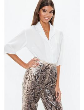White Cropped Boxy Shirt by Missguided