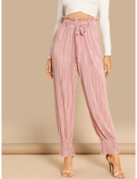 Tie Neck Frill Trim Pleated Pants by Shein
