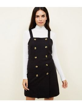 Black Cross Hatch Double Breasted Pinafore Dress by New Look