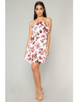 Francesca Floral Mini Dress   Ivory by Fashion Nova
