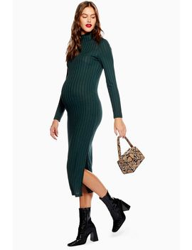 **Maternity High Neck Ribbed Midi Dress by Topshop
