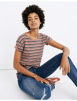 Whisper Cotton Crewneck Tee In Nealy Stripe by Madewell