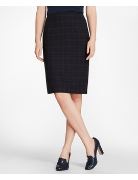 Plaid Brooks Cool® Merino Wool Pencil Skirt by Brooks Brothers